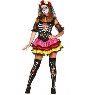 Fleurige Day Of The Dead Dame Vrouw Kostuum
