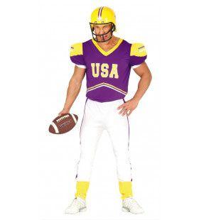 Paarse Passing Quarterback Man Kostuum