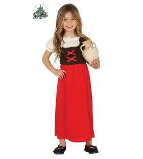 Jonge Herbergierster Rood Meisje Kostuum