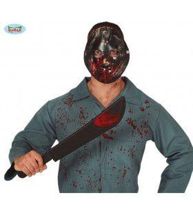 Bloedspetter Halloween Masker En Machete 54 Centimeter
