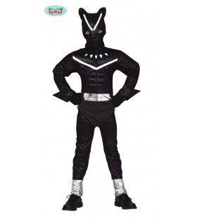 Superheld Soepele Zwarte Kat Jongen Kostuum