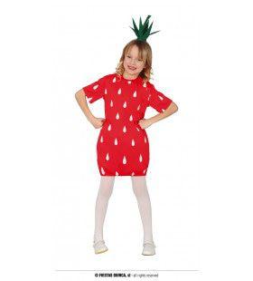 Blije Rode Aardbei Meisje Kostuum