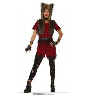 Rebelse Punk Wolf Vrouw Kostuum