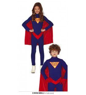 Blauw Rode Superheld In Wording Kind Kostuum
