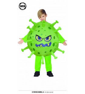 Losgeslagen Groene Virus Cel Kind Kostuum