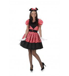 Swingende Rock And Roll Muis Minnie Vrouw Kostuum