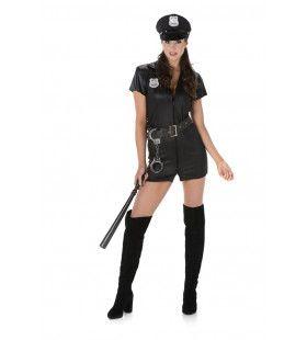 Opwinding Op Straat Politie Agente Vrouw Kostuum