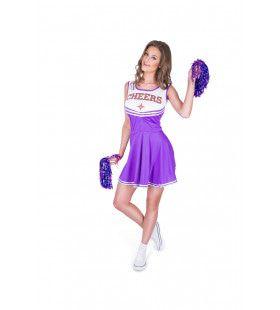 Paarse Cheerleader High School Amerika Vrouw Kostuum