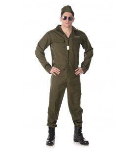 Gevechtspiloot Rafale Straaljager Bruine Overall Man Kostuum