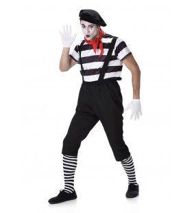 Zwart Wit Mime Artiest Mondje Dicht Man Kostuum