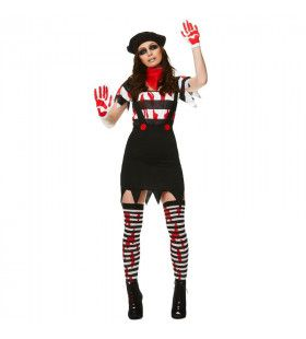 Bloederige Pantomime Speler Lijden In Stilte Vrouw Kostuum