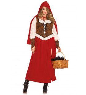 Lange Roodkapje Sprookjesjurk (Plus Size) Vrouw