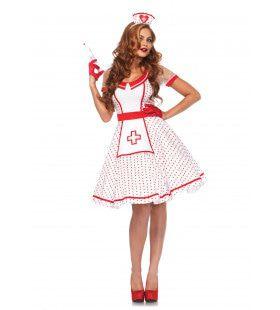 Polka Dot Verpleegster Vrouw Kostuum