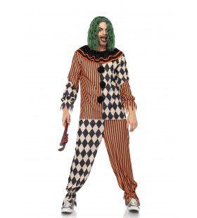Bonte Retro Clown Man Kostuum