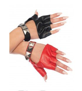 Vingerloze Handschoenen Met Studs Twee Kleuren