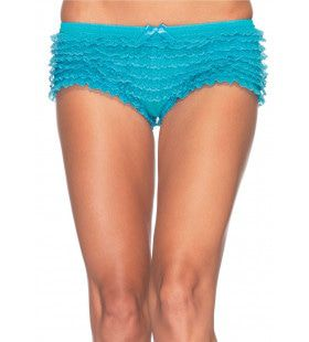 Kanten Shorts Met Ruches Turquoise Vrouw