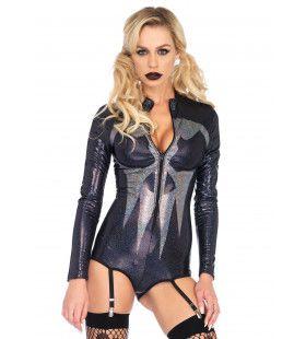 Doodshoofd Halloween Body Met Jarretels Vrouw Kostuum