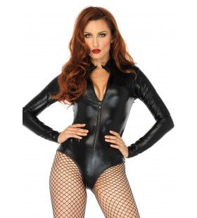 Spannende Wetlook Body Vrouw Kostuum