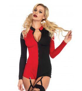 Harlekijn Romper Rood Zwart Vrouw Kostuum
