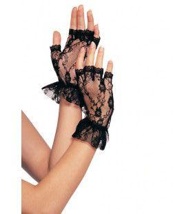 Vingerloze Kanten Handschoenen Met Ruches Zwart
