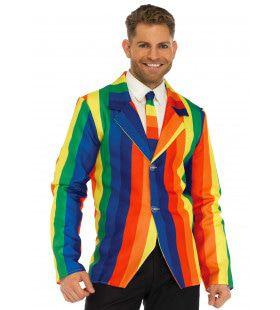 Regenboog Colbert Met Bijpassende Stropdas Man Kostuum