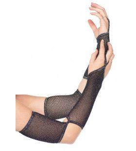 Net Handschoenen Uitgesneden Elleboog Zwart