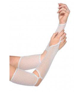 Net Handschoenen Uitgesneden Elleboog Wit
