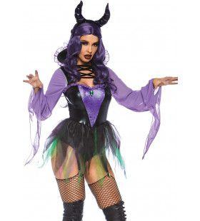 Sexy Paarse Duivelin Vrouw Kostuum