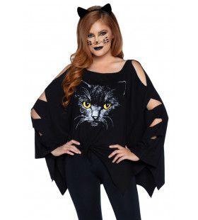Zwarte Kat Brengt Geen Pech Poncho En Oren Vrouw Kostuum