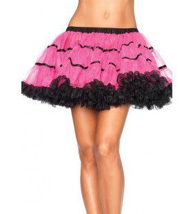 Gelaagde Tulle Petticoat Met Satijnen Band Zwart-Roze