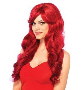 Lange Pruik Met Golvend Haar Rood