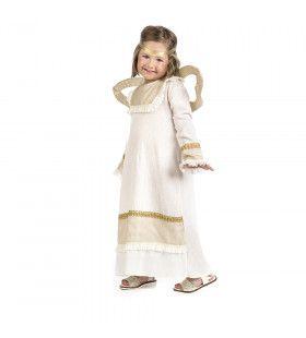 Hemelse Engel Met Gouden Vleugels Meisje Kostuum