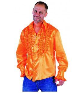 Getailleerde Ruches Blouse Stiekem Dansen Oranje Man