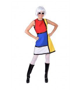 Jaren 60 Pop Art Mondriaan Vrouw Kostuum