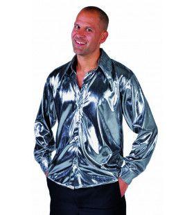 Zilveren Glitter Folie Blouse Man