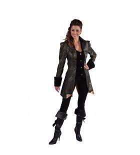 Met Brokaat Versierde Mantel En Vest Hertogin Zwart Vrouw Kostuum