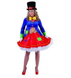 Wilde Gekke Circus Clown Vrouw Kostuum
