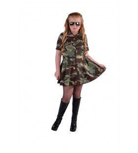 Lauw Leger Camouflage Meisje Kostuum