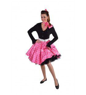 Jaren 50 Swing Rock Rok Roze Stippen Vrouw