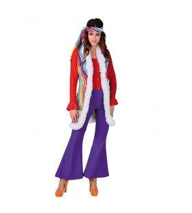 Hippie Vest Lang Regenboog Golven Vrouw Kostuum