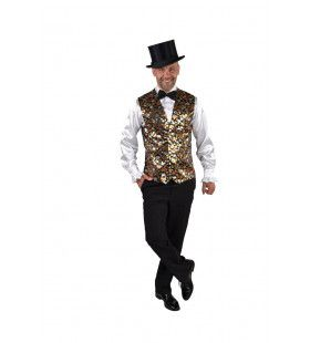 Gilet Showmaster Sterren Pailletten Goud Man