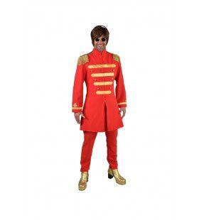 Rood Lonely Hearts Club Beatles Man Kostuum