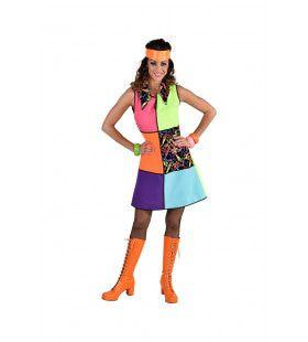 Grote Kleurige Vlakken Jaren 80 Neon Swirls Vrouw Kostuum