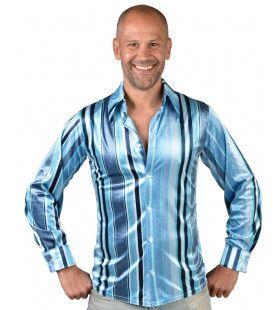 Jaren 70 Blauwe Groovy Blouse Man