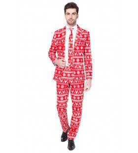 Rendier Christmas Red Nordic Opposuit Driedelig Rood Man Kostuum