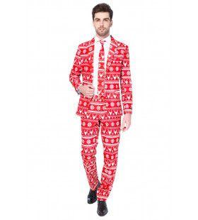 Rendier Christmas Red Nordic Opposuit Man Kostuum