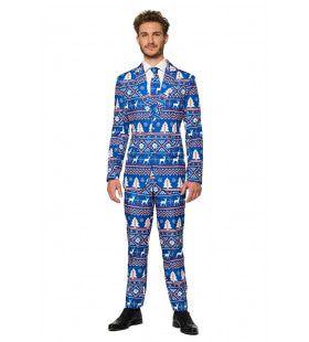 Christmas Blue Nordic Rendier Kerst Man Kostuum