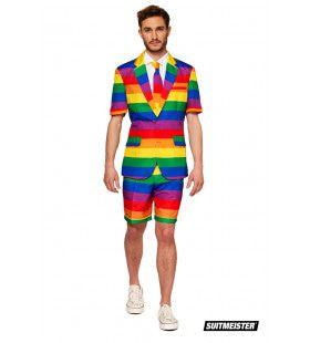 Uitgesproken Kleurrijk Regenboog Zomer Man Kostuum