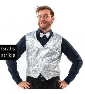 Showman Cocktail Gala Glitter Vest Met Dasje Zilver