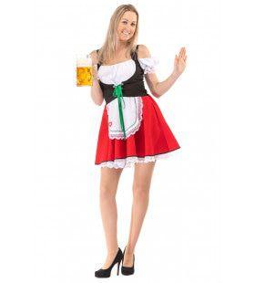 Korte Rode Sexy Beierse Mabel Dirndl Oktoberfest Bier Tirol Vrouw Kostuum